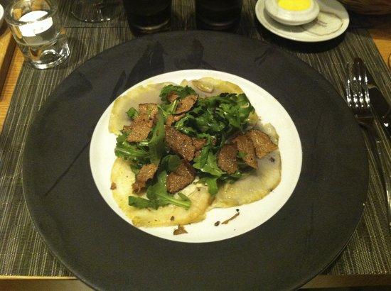 L'Affable: artichoke carpaccio withblack truffle