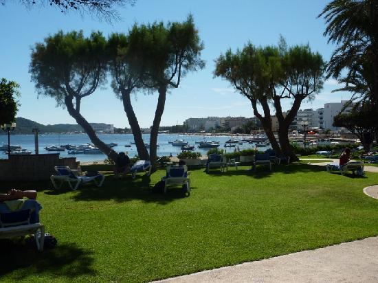 Hotel Torre del Mar: Another shot of the garden, Playa d'en Bossa in the back
