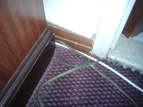 โรงแรมเดย์บรอดเวย์: cable qui pendent devant la SDB et tapiserie decollé dan tous les recoins de la chambre