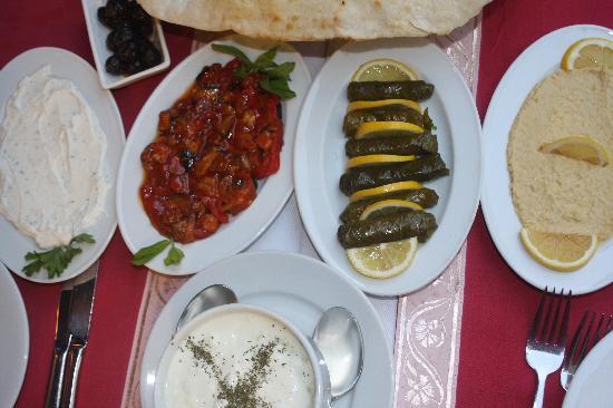 Aloran Cafe & Restaurant: Selection of mezes: haydari, şakşuka, sarma (= dölme), hummus, cacık