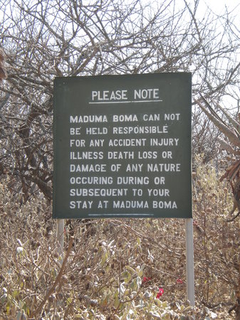 Maduma Boma Game Conservancy: Sign when entering the Conservancy