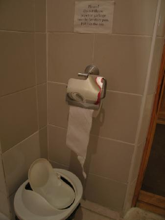 Malika Hotel Khorezm: Garbage bin for toilet paper.