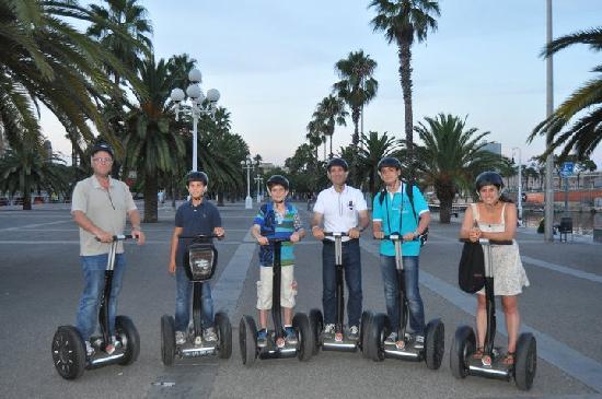 Barcelona Segway Tour: Our group on Segways along the Barcelona coastline