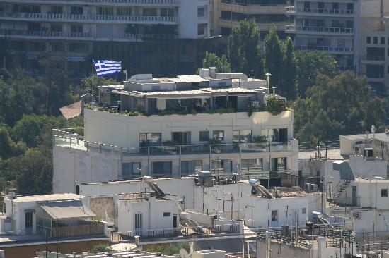 The Athens Gate Hotel: View of the Athens Gate from the Acropolis