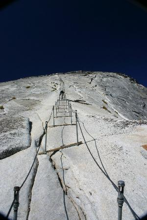 Half Dome: Looking down the cable route from half way up.