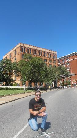 The Sixth Floor Museum at Dealey Plaza: spot where JFK was shot and 6th Floor Museum in background, sniper window is very right one, 2nd