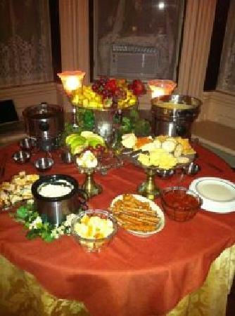 Overlook Mansion Bed & Breakfast: Chocolate, Peanut Butter and Cheese Fondue for our PJ Bachlorette Party that the owners put on f