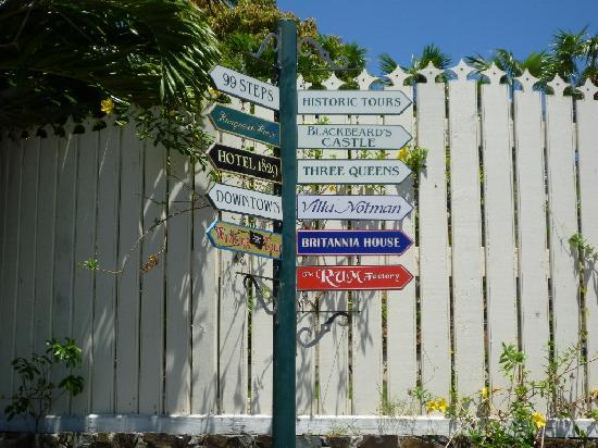 Directional signs on 99 steps walking tour