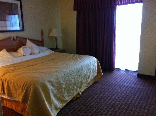 Quality Suites Hotel: Looking into bedroom from living room--big balcony doors open onto a field.
