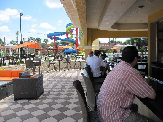 Vacation Villas at Fantasy World I: Where my husband spent much of his time watching the game.