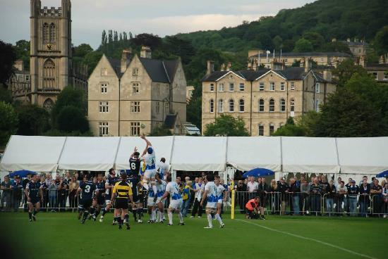 Recreation Ground: On-field action, with beautiful Bath in the background