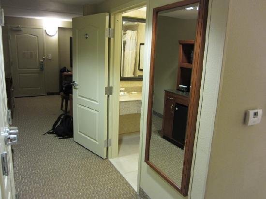 Hilton Garden Inn Atlanta West/Lithia Springs: Looking towards the bathroom and sitting area from bed area
