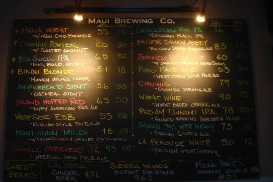Maui Brewing Co. Brewpub: Brew pub menu