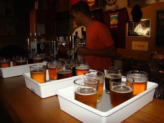 Maui Brewing Co. Brewpub: Tasting room tour flight of brews
