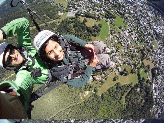Fly Chamonix - Tandem Paragliding: photo of my wife taken by Sean over Chamonix