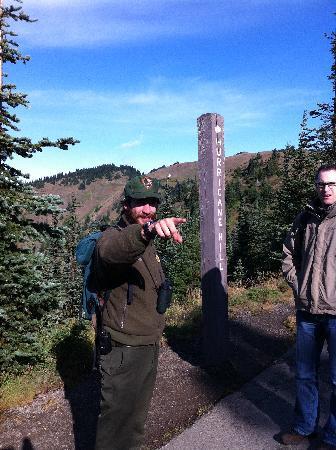 Hurricane Ridge: Ranger Josh at the beginning of the hike to Hurricane Hill