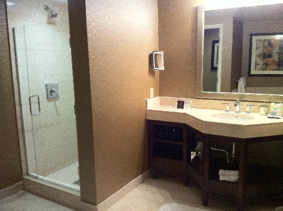 ออมนิ ลอสแองเจลิส แอท แคลิฟอร์เนียพลาซ่า: Salle de bain coté gauche, sur le coté droit le Wc et la micro b aignoire, à l'américaine