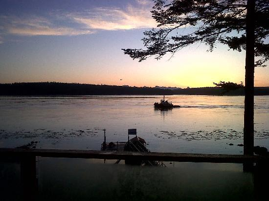 Dolphins Resort and Anglers Dining: dawn over Quadra Island from Cabin 1