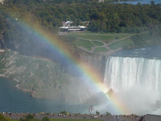เอมบาสซี่สวีทส์ บาย ฮิลตันไนแอการ่าฟอลส์ ฟอลส์วิวโฮเต็ล: Horseshoe Falls with rainbow from our room