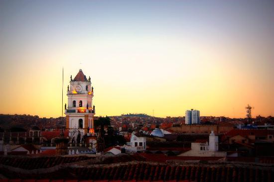 El Hostal de Su Merced: Beautiful sunset view taken from the rooftop