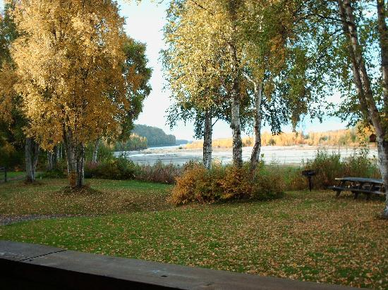 Susitna River Lodging: Early Autumn View from Main Lodge Room Deck