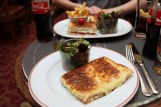 Angelina : Lunch - Croque Monsieur in front, club sandwich behind.
