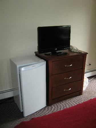 Breakaway Motel: the fridge and tv