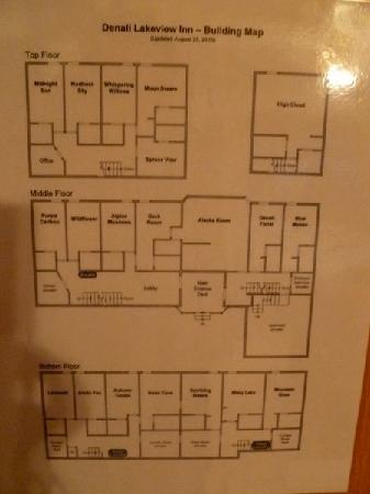 Denali Lakeview Inn: Floorplan.  Choose a room on the top floor.