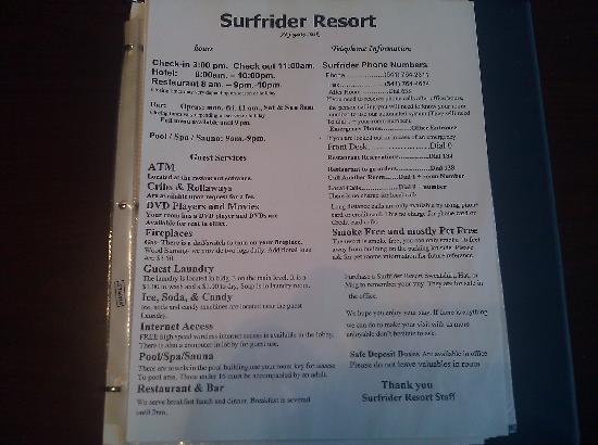 Clarion Inn Surfrider Resort: Front desk closes at 10 and opens at 8.