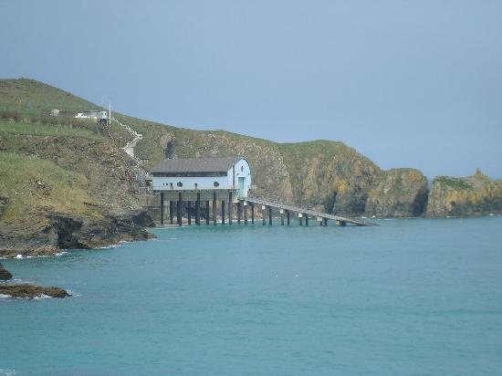 Mother Ivey's Bay Holiday Park : View from beach to lifeboat launch.