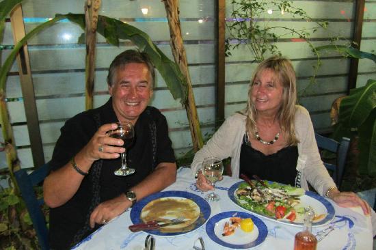 Tigaki's Star Hotel: My wife Lyn and I enjoying a meal in Tigaki - all were very good