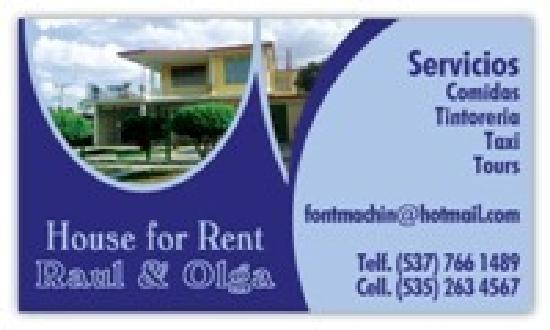 Hostal Raul y Olga: Business card back