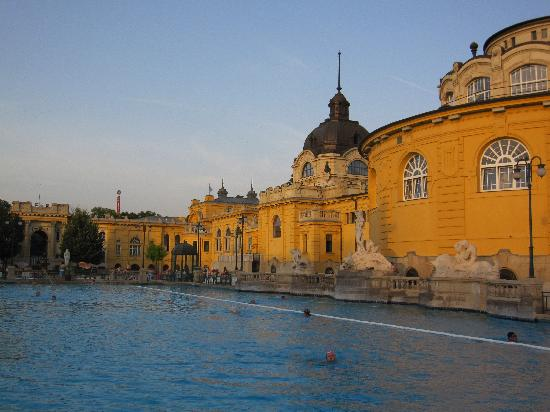 Széchenyi Baths and Pool: The yellow building and pool.