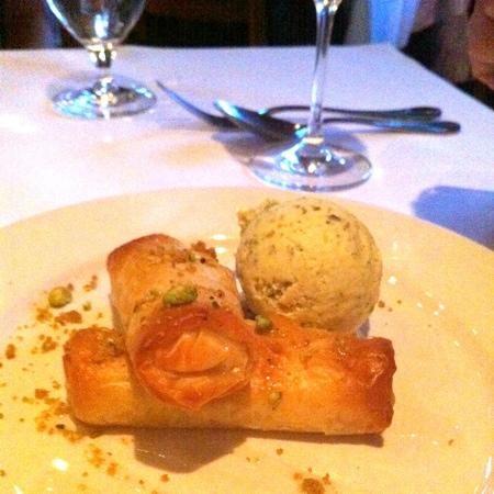 Evvia : vanilla custard filled pastry and pistachio ice cream
