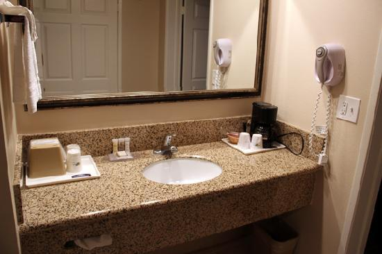 Howard Johnson Pasadena: The sink was in the hallway that adjoined the bedroom and living area.