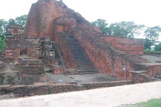 Nalanda: three stairs constucted in different centuries