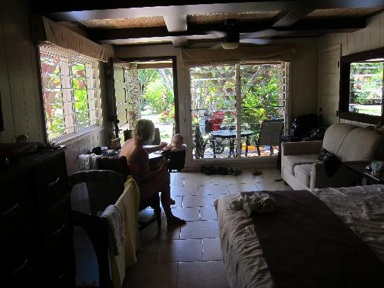 The Mauian Hotel on Napili Beach: view from the kitchen are in the room looking out toward the pool