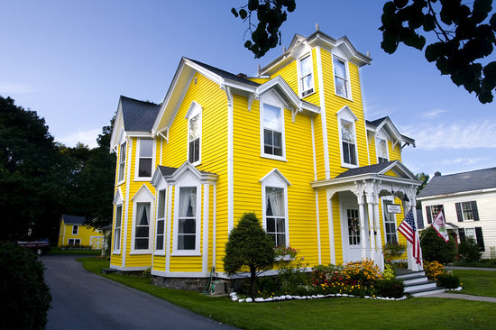 Baseball Bed and Breakfast: Sunshine Yellow House with White Trim