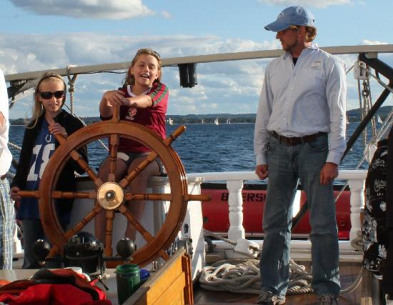 Tall Ship Manitou - Day Tours: My daughter steering the ship!