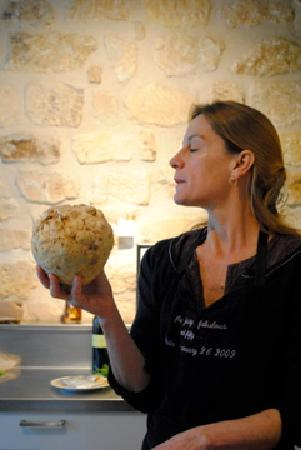 Eye Prefer Paris Cooking Classes: Charlotte in her kitchen with a celery root
