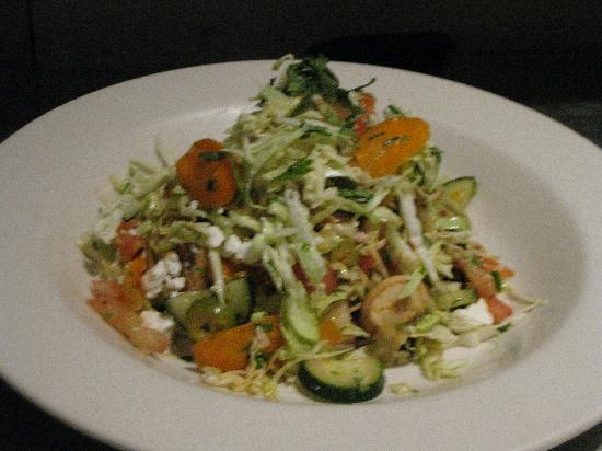 Perry's On Fremont: Veggie Tostada with roasted red pepper vinaigrette @ POF