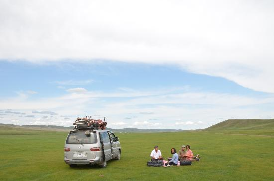 Mongolia: For lunch, we just plopped down in the middle of the steppes and had a picnic