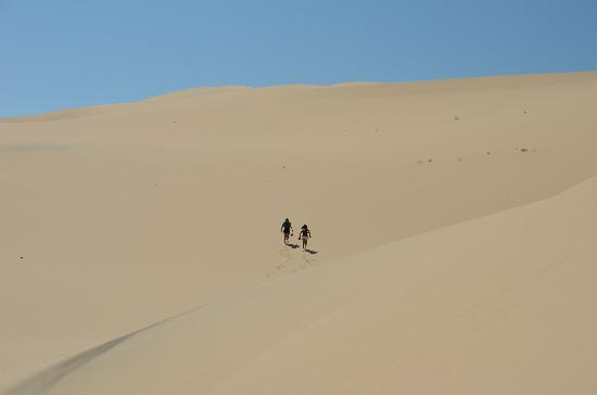Mongolia: Khongoryn Els Sand dunes-- it's easier to walk up if you take off your shoes and wear socks