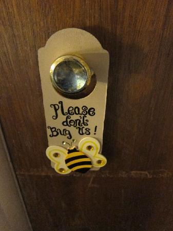 Alder Inn: cute do not disturb tag by the door