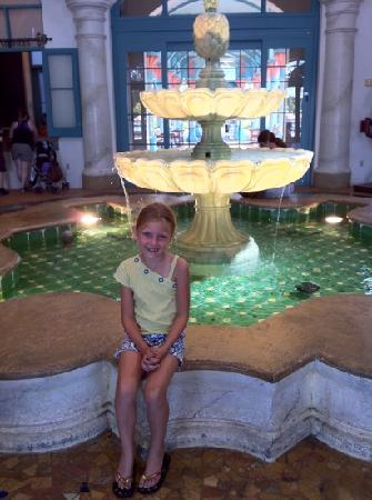 Disney's Coronado Springs Resort: Kass at the lobby fountain.