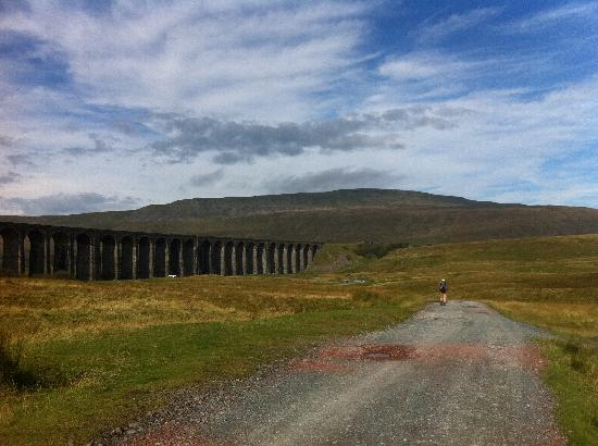 The Station Inn: The ribblehead viaduct with Whernside in the distance, the view from the path next to the statio