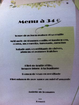 Restaurant L'Écluse : menu