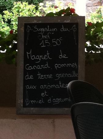 Restaurant L'Écluse : ardoise de la suggestion du chef