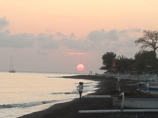 sunrise,front of Lily Amed beach bungalows