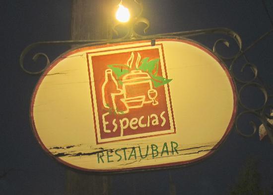 New Especias Restaurante: Look for this sign